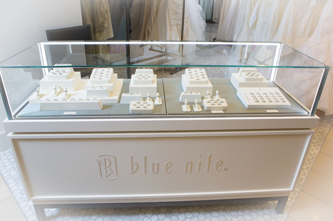 Blue Nile engagement rings on display at Nordstrom Seattle