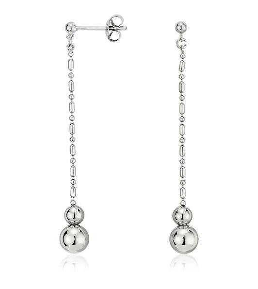 Blue Nile's graduated bead drop earrings in platinum