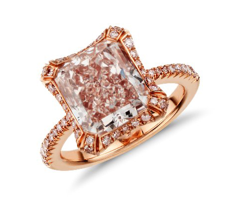 Heirloom collection fancy pink radiant-cut diamond halo ring from Blue Nile