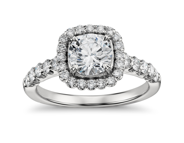 Cushion-Shaped Halo Diamond Engagement Ring from Blue Nile