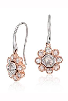 Blue Nile rose-cut diamond floral drop earrings in 18k rose and white gold