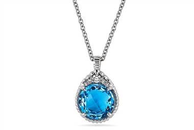 Swiss Blue Topaz Drop Diamond Halo Pendant - in 14kt White Gold - (0.05 CTW) at Ritani