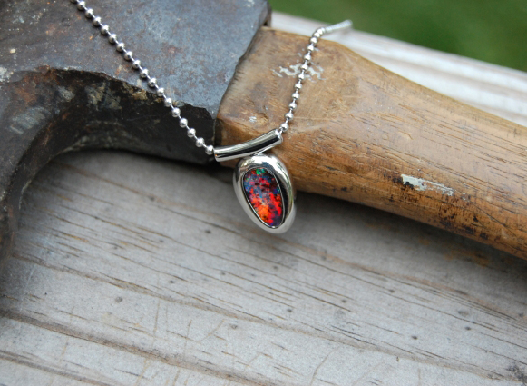 Men's Pendant: Boulder Opal in White Gold
