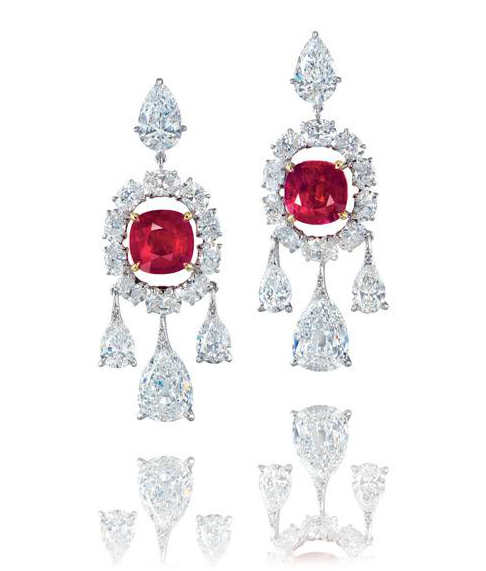 Unheated Burmese ruby and diamond ear pendants • Christie's