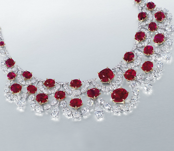 Unheated Burmese ruby and diamond necklace by Etcetera • Christie's