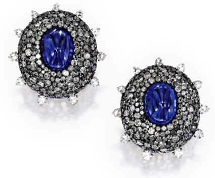 Pair of Cabochon Sapphire and Diamond Earclips, JAR Paris, Sotheby's Magnificent Jewels