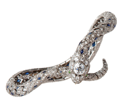 Caldwell & Co. diamond and sapphire serpent bracelet, circa 1930 • A La Vieille Russie at 1stdibs.com