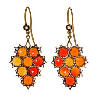 Cathy Waterman fire opal and diamond earrings