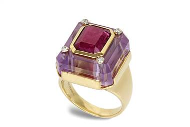 Cava Amethyst Diamond and Ruby Inset Ring - in 18kt Yellow Gold (0.04 CTW) by Ritani