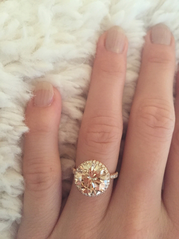 Champagne Diamond Engagement Ring in Rose Gold