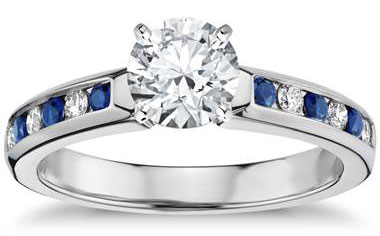 Channel Set Sapphire and Diamond Engagement Ring in 18k White Gold (1/6 ct. tw.) by Blue Nile