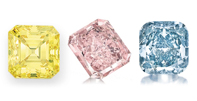 Fancy vivid yellow, fancy intense pink, and fancy vivid blue diamonds • Christie's