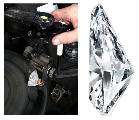 236-carat rough diamond on the polishing wheel, Christie's Geneva