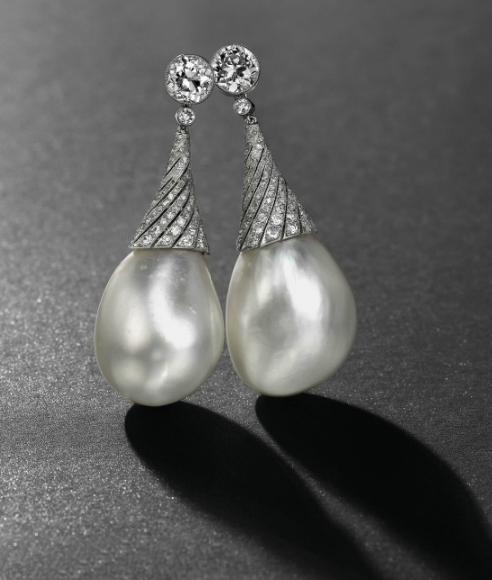 A pair of drop-shaped natural pearl and diamond ear-pendants, Christie's Geneva