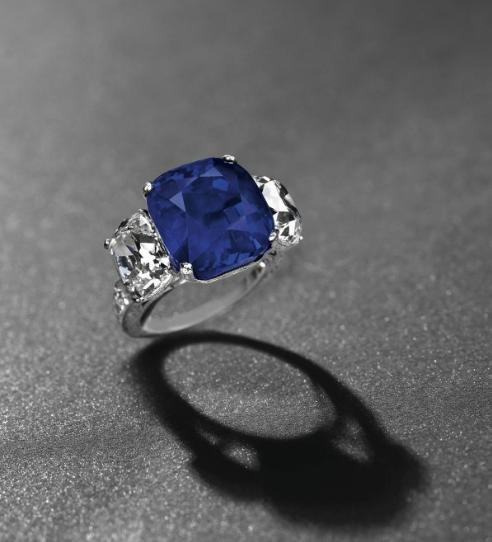 The 'Star of Kashmir,' a 19.88-carat Kashmir sapphire and diamond ring, Christie's Geneva