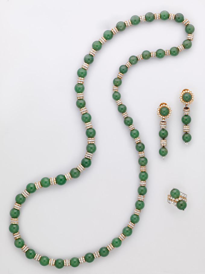 A suite of jadeite and diamond jewelry • Christie's