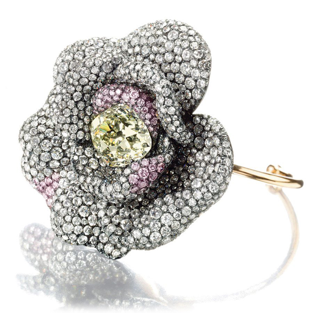 JAR diamond camellia flowerhead bangle bracelet