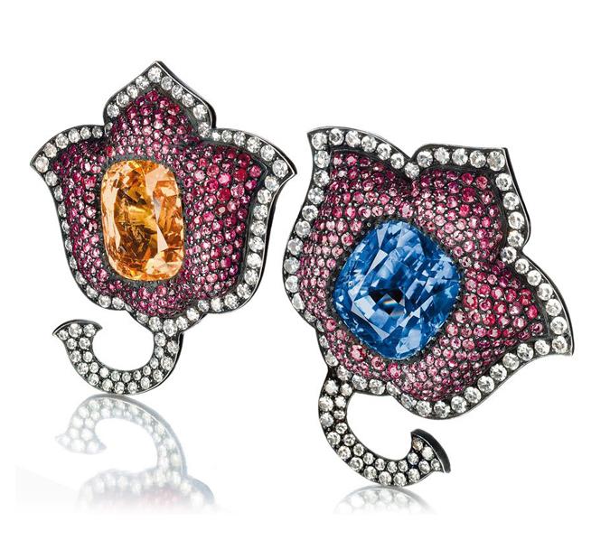 JAR sapphire, ruby, and diamond Moghul tulip ear clips