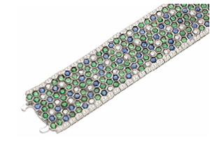 Tsavorite, sapphire, and diamond bracelet