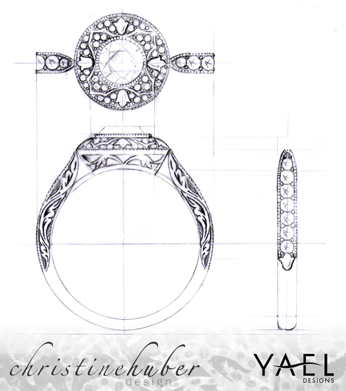 Design rendering by Christine Huber of Novelique engagement ring style 09284 • Image courtesy of Yael Designs