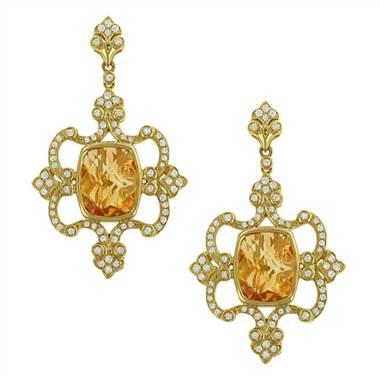 Charles Krypell 1-7317-YC Citrine & Pave Diamond Dangle Earrings at Solomon Brothers