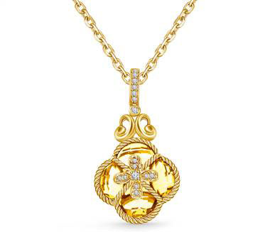 Clover Citrine & Diamond Crown Byzantine Pendant in 14K Yellow Gold (15x12 mm) at B2C Jewels