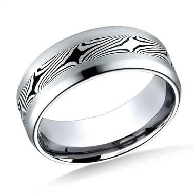 Cobaltchrome 8mm Comfort-Fit Satin-Mokume Design Ring at B2C Jewels