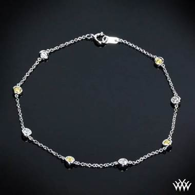 "18k White Gold ""Color Me Mine"" Diamond and Yellow Sapphire Bracelet by Whiteflash"