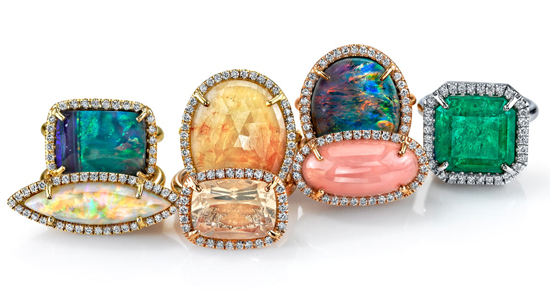Colored gemstone and diamond rings by Irene Neuwirth