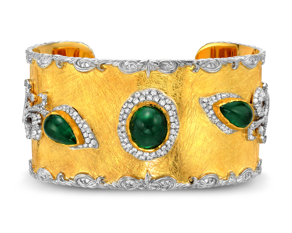 Victor Velyan bracelet with emeralds and diamonds in 24k