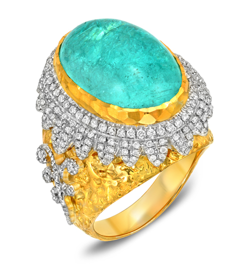 Victor Velyan ring with a 14.80-carat Paraiba tourmaline cabochon
