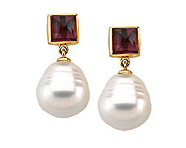 South Sea Cultured Circle Pearl & Genuine Rhodolite Garnet Earrings in 14K Yellow Gold at B2C Jewels