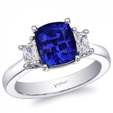 Coast LZK0246-S Unheated Cushion Cut Blue Sapphire and Trapezoid Diamond 3 Stone Ring at Solomon Brothers