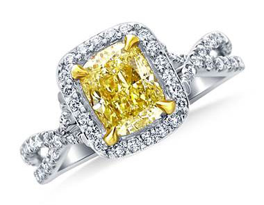 Fancy Light Yellow Canary Cushion Cut Diamond Crossover Twist Ring in 18K White Gold