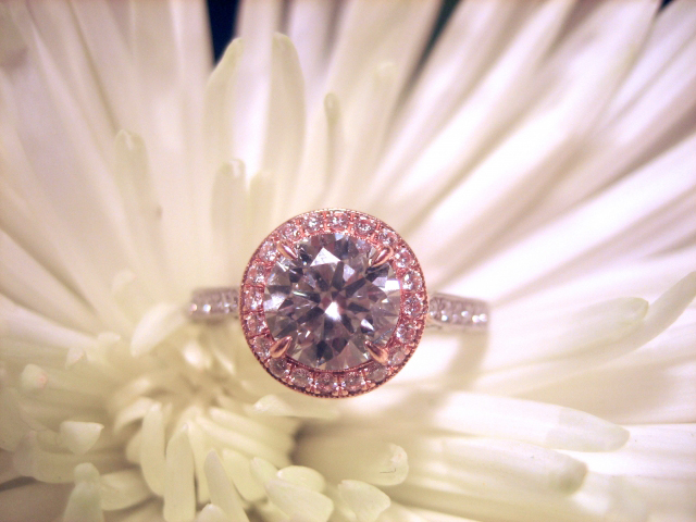 Halo Diamond Engagement Ring in Rose Gold and Platinum