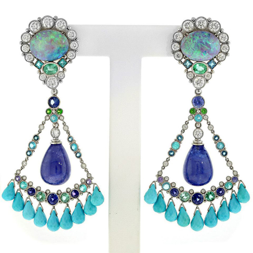 2013 AGTA Spectrum Awards • Deirdre Featherstone Shangri-La opal and tanzanite earrings