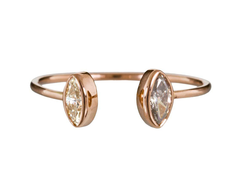 Dezso double diamond pinky cuff ring at TWIST