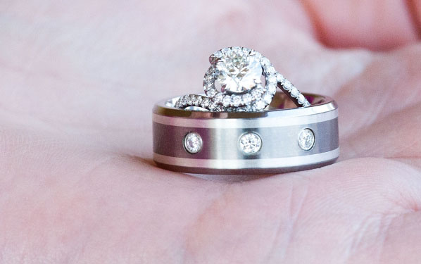 Danhov Engagement Ring with Hearts on Fire Mangagement Ring