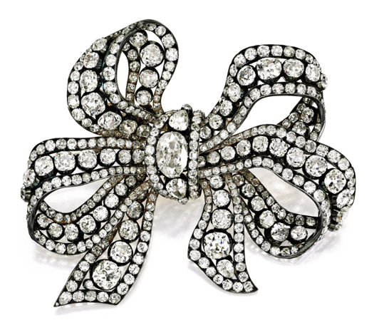 Diamond Ribbon Bow Brooch, circa 1840, Sotheby's Magnificent Jewels