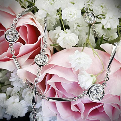 Platinum Diamond Station Necklace