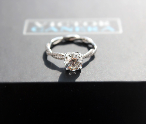 Custom diamond engagement ring with braided shank