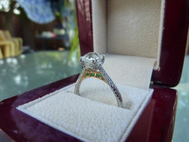Octavia asscher cut diamond engagement ring