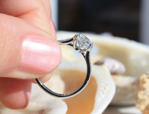 Custom diamond engagement ring gallery view