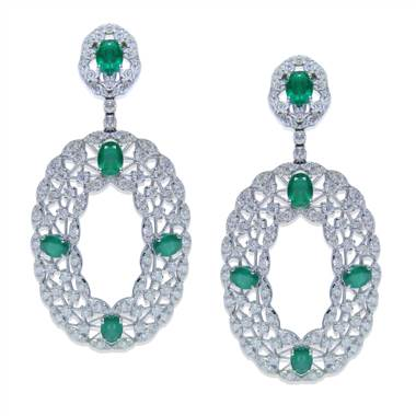 Diamond and Emerald Drop EarRing S set in 18KT White Gold 10.58ct B07519EE1S8W-IAJLD at I.D. Jewelry