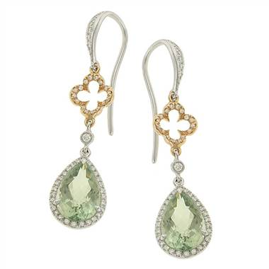 Zeghani ZE216 Pear Shape Green Amethyst and Pave Diamond Halo Dangle Earrings by Solomon Brothers
