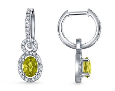 Diamond Halo And Peridot Hoop Earrings with Drops in 14K White Gold at B2C Jewels