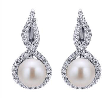 Diamond and Pearl Leverback Earrings set in 14kt White Gold 0.40ct EG12596W45PL at I.D. Jewelry