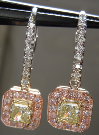 Pink and Yellow Diamond Earrings from Diamonds by Lauren