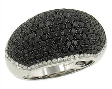 Solomon DR82867 Domed Black (2.55ct) & White (.38ct) Pave Diamond Ring