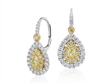 Double Halo Pear-Shaped Yellow Diamond Earrings in 18k White and Yellow Gold at Blue Nile